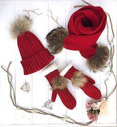 Шапка + шарф + персатки теплые  в расцветках 547739