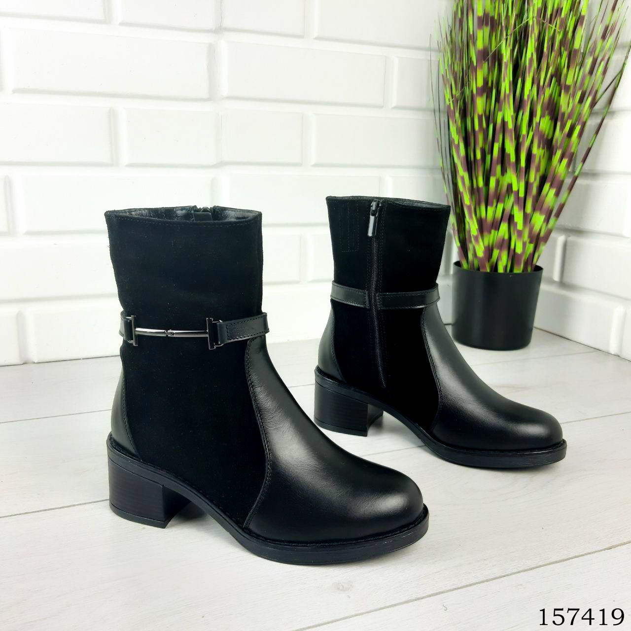 """Ботинки женские зимние черные """"Lear"""" натуральная кожа"""