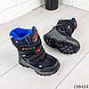 Детские ботинки зимние на липучках черного цвета из эко кожи, фото 5