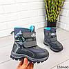 Детские ботинки зимние на липучках серого цвета из эко кожи, фото 3