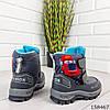 Детские ботинки зимние на липучках серого цвета из эко кожи, фото 7