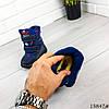 Детские ботинки зимние на липучках синего цвета из эко кожи, фото 2