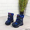 Детские ботинки зимние на липучках синего цвета из эко кожи, фото 5