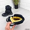 Детские ботинки зимние на липучках черного цвета из эко кожи, фото 2
