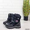 Детские ботинки зимние на липучках черного цвета из эко кожи, фото 3