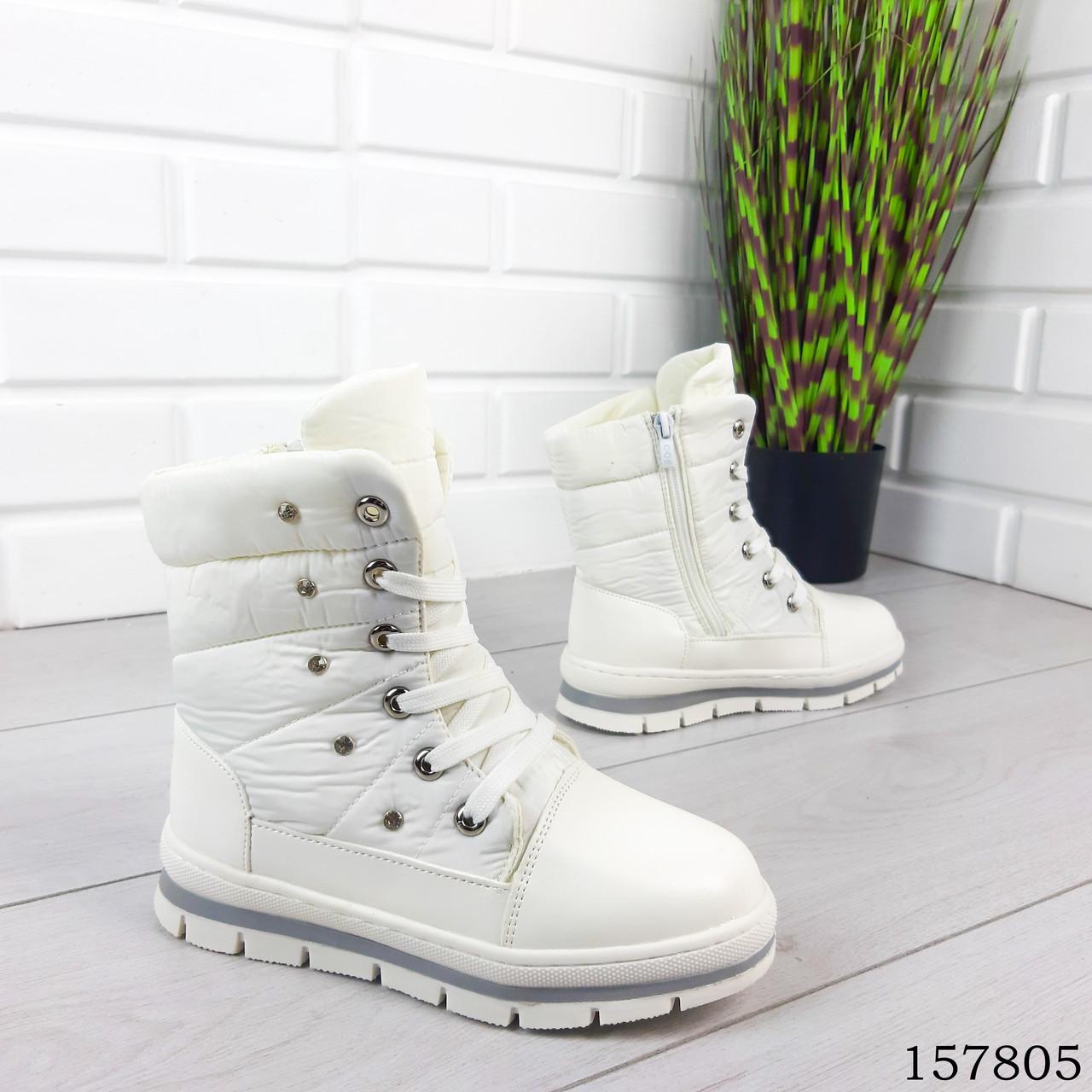 Детские сапоги зимние на шнурках белого цвета из эко кожи и плащевки