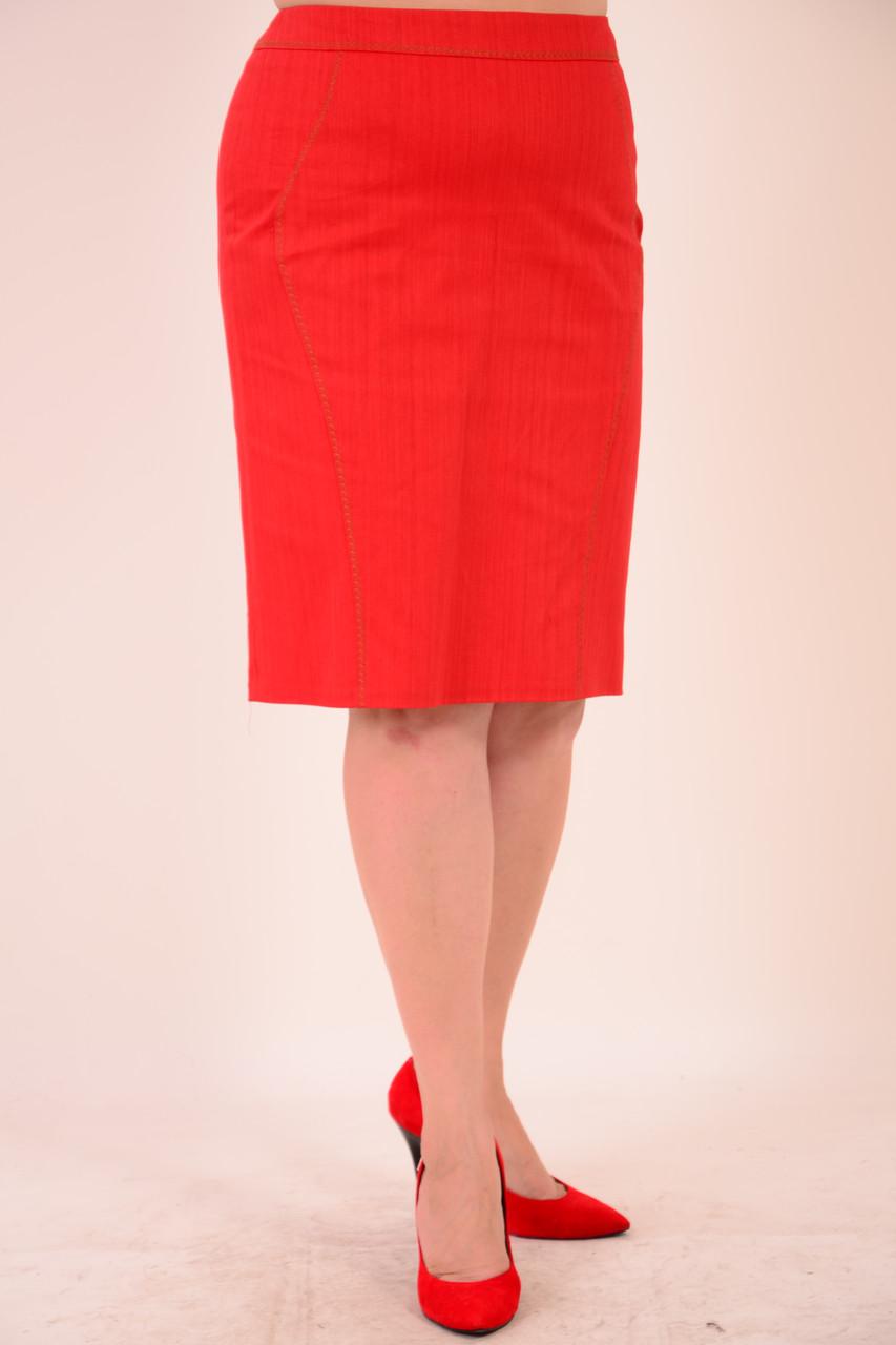 Юбка из фактурного коттона, цвет терракот, дизайнерская модель, 50,52,54,56 , ю 005-5.