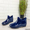 Женские ботинки демисезонные синего цвета из литой резины, фото 4