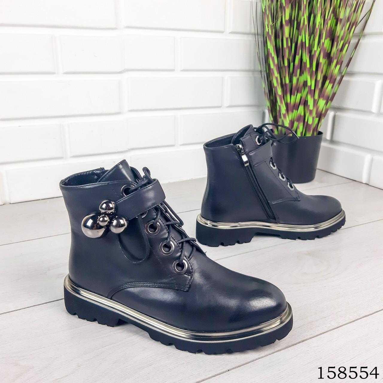 Женские ботинки демисезонные на молнии и шнурках черного цвета из эко кожи