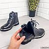 Женские ботинки демисезонные на молнии и шнурках черного цвета из эко кожи, фото 2