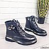 Женские ботинки демисезонные на молнии и шнурках черного цвета из эко кожи, фото 3