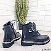 Женские ботинки демисезонные на молнии и шнурках черного цвета из эко кожи, фото 4