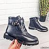 Женские ботинки демисезонные на молнии и шнурках черного цвета из эко кожи, фото 6