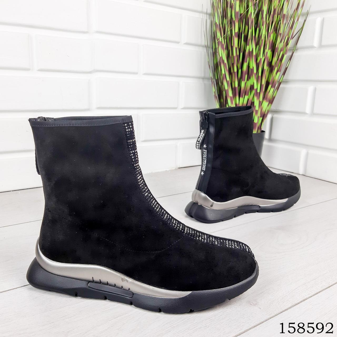 Женские ботинки демисезонные черного цвета из эко замши