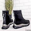 Женские ботинки демисезонные черного цвета из эко замши, фото 7