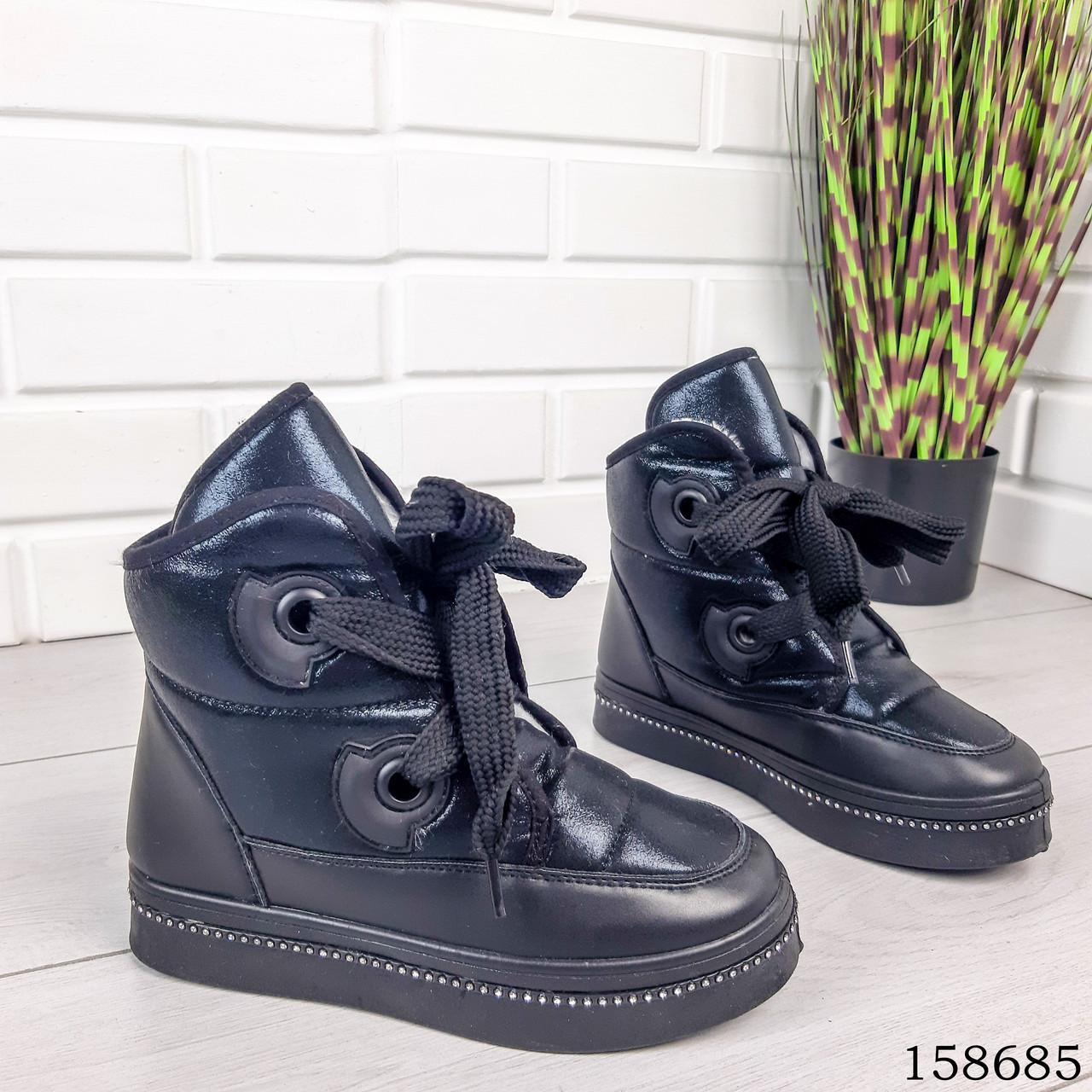 Женские ботинки зимние черного цвета из эко плащевки на широких шнурках