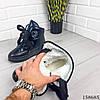 Женские ботинки зимние черного цвета из эко плащевки на широких шнурках, фото 2