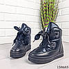 Женские ботинки зимние черного цвета из эко плащевки на широких шнурках, фото 4
