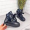 Женские ботинки зимние черного цвета из эко плащевки на широких шнурках, фото 5