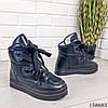 Женские ботинки зимние черного цвета из эко плащевки на широких шнурках, фото 6
