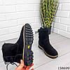 Женские ботинки зимние черного цвета из натуральной замши, фото 3