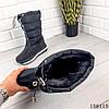 Женские сапоги зимние черного цвета из плащевки на резинке, фото 2