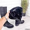 Женские сапоги зимние черного цвета из плащевки на молнии, фото 5