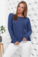 Женский свитер красивой вязки теплый синего цвета размер 44-50