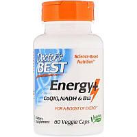 """Энергетик Doctor's Best """"Energy+CoQ10, NADH & B12"""" обеспечивает сбалансированный заряд энергии (60 капсул)"""