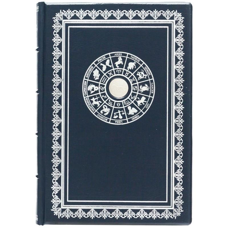 "Ежедневник А5 формата в кожаном переплете со знаком зодиака ""Лев"""