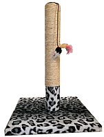 Когтеточка-столбик Снежный барс, квадратной подставке, сизаль, игрушка-мышь, 30х45см