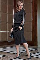 Красивое платье со свободным верхом и рукавами сетка 44-50 размера черное, фото 1