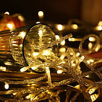 Новогодняя гирлянда -нить 400 Led 18 м (прозрачный провод, желтый), фото 1