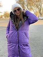 Зимнее женское двухстороннее пальто - одеяло с капюшоном, в расцветках
