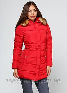 Куртка пуховик  зимняя женская красная