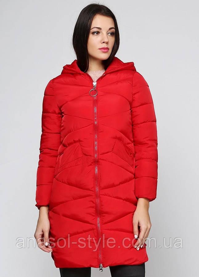 Куртка пуховик  зимняя стеганая женская красная