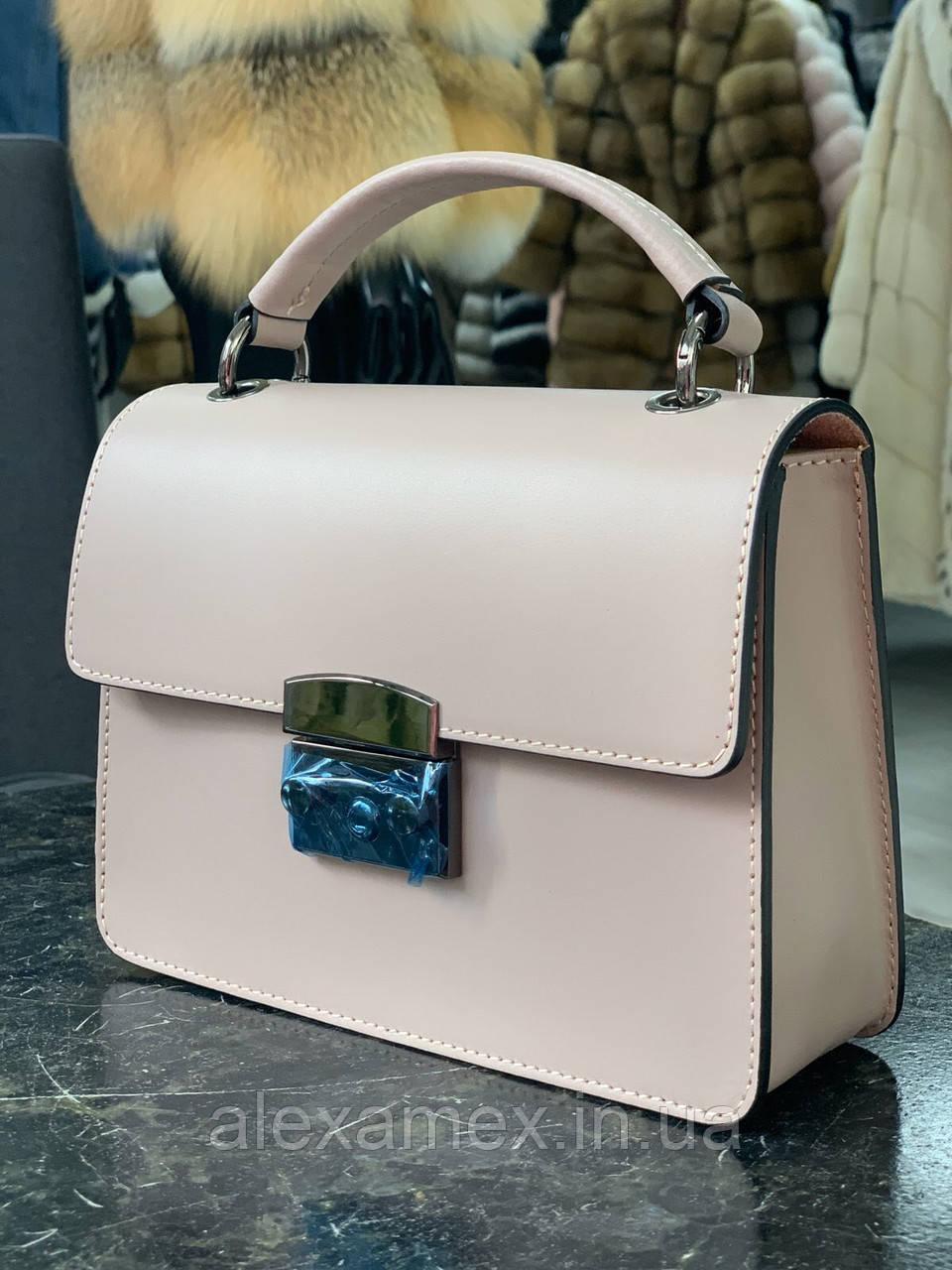 Итальянская кожаная сумка пудра