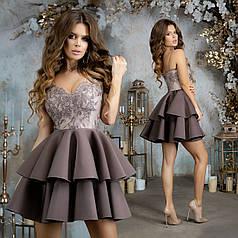 Платье нарядное верх гипюр в расцветках 377295
