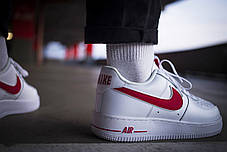 Мужские кроссовки Nike Air Force 1 Low Reflective White Red ( Реплика ), фото 3