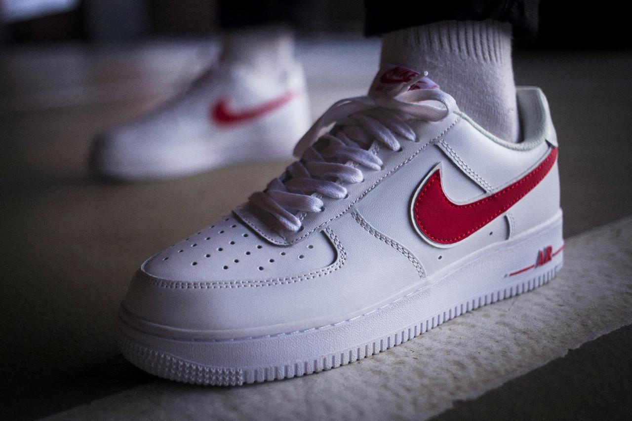 Мужские кроссовки Nike Air Force 1 Low Reflective White Red ( Реплика )