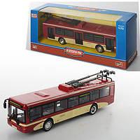 Троллейбус 6407C (96шт) металл, инер-й, 16-4,5-3,5см,1:72, рез.колеса, в кор-ке, 20-8-6см