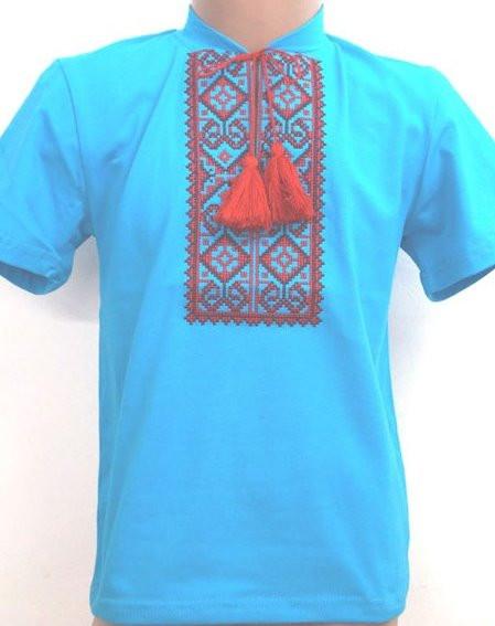 Кофточка вышиванка с коротким рукавом для мальчика на рост 92-146 см