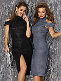 Вечірній сукні-міді з відкритими плечима з трикотажу з люрексом чорний, фото 4