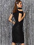 Вечірній сукні-міді з відкритими плечима з трикотажу з люрексом чорний, фото 3