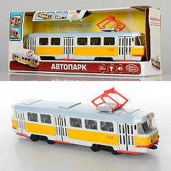 Трамвай 9708-B (24шт) 28-10-6см,1:54,зв(рус),свет,двери откр,на бат-ке(табл),в кор-ке, 30,5-12,5-8см