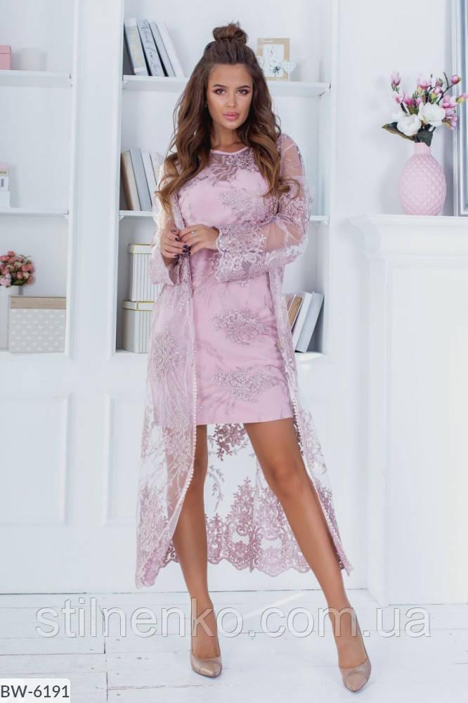 Костюм платье+кардиган  вышивка на сетке