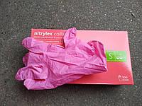 Перчатки Нитриловые Nitrylex Collagen S 6-7 розовые, фото 1