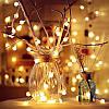 Новогодняя гирлянда -нить светодиодная шарики Led 20 «Радуга» (черный провод, желтый)