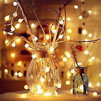 Новогодняя гирлянда -нить светодиодная шарики Led 20 «Радуга» (черный провод, желтый), фото 1