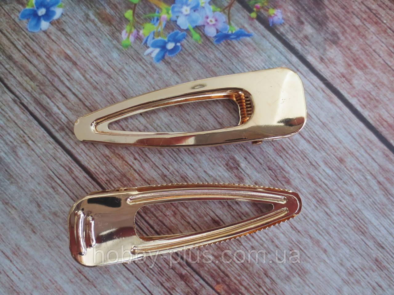 Металлическая заколка-крокодил для волос, 8 см, цвет золото